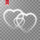 Happy Valentines Day greeting card. I Love You. 14 February. Holiday background with three hearts, light, stars on Royalty Free Stock Photos