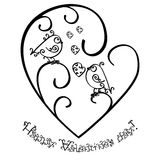 Happy Valentines Day. Greeting card or invitation. Concept. Monochrome black outline pattern with birds of curls Isolated on white Stock Photos