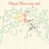 Happy Valentines Day. Greeting card or invitation. Concept. Monochrome black outline pattern with birds of curls Isolated on white Royalty Free Stock Image
