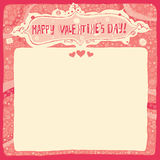 Happy Valentines Day Greeting card or invitation with Handlettering Typography and decorative background Stock Images