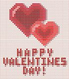 Happy Valentines Day greeting card with knitted hearts,. Vector illustration Royalty Free Stock Photo