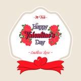 Happy Valentines Day Greeting Card. Happy Valentines Day Lettering Greeting Card Royalty Free Stock Photos