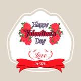Happy Valentines Day Greeting Card. Happy Valentines Day Lettering Greeting Card Royalty Free Stock Photo