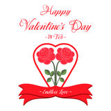 Happy Valentines Day Greeting Card. Happy Valentines Day Lettering Greeting Card Illustration Royalty Free Stock Photography