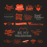 Happy valentines day greeting card logo elements on dark backgro Stock Photography