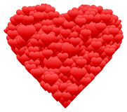 Happy Valentines day greeting card. One red beautiful heart made of many little hearts, greeting card about love Stock Image