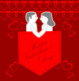 Happy valentines day greeting card. Paper cut couple with heart background stock illustration