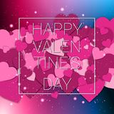 Happy Valentines Day Greeting Card Paper Cut Hearts Background. Vector Illustration Royalty Free Stock Photo