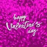 Happy Valentines Day greeting card. With pink fluffy background. Vector illustration. Can be used as poster, flyers, invitation, brochure, banners, sale Stock Photo