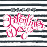 Happy Valentines day  greeting card with pink hand drawn calligraphy lettering and watercolor black stripes. Royalty Free Stock Photo