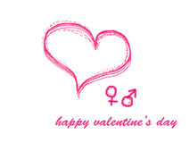 HAPPY valentines day greeting card with pink  heart Stock Photos