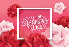 Happy Valentines Day greeting card. With pink and red roses Royalty Free Stock Image