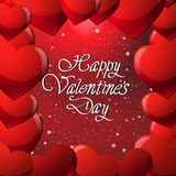 Happy Valentines Day Greeting Card Or Poster With Calligraphy Lettering And Glitter Heart Shape On Red Background. Vector Illustration Royalty Free Stock Images