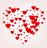 Happy Valentines day greeting card. Red heart shape made of many little hearts, greeting card about love. Stock Photos