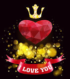 Happy Valentines Day.Greeting card with red heart. Royalty Free Stock Photography