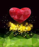 Happy Valentines Day.Greeting card with red heart. Stock Photos
