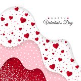 Happy Valentines Day greeting card. Red Layers with different Decorative Elements. Romantic Weeding Design. Background with Ornaments and Hearts. Vector royalty free illustration