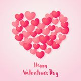 Happy Valentines Day greeting card. Red paper hearts in paper style. Vector illustration Stock Photo