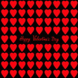 Happy Valentines day. Greeting card. Red and pink heart set Seamless Pattern. Wrapping paper, textile template. Black background. Royalty Free Stock Photography
