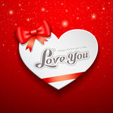 Happy Valentines Day Greeting Card and red ribbon. On red background,  illustration Stock Photo