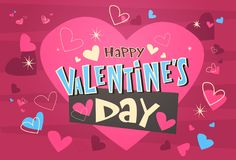 Happy Valentines Day Greeting Card Retro Poster With Pink Background. Vector Illustration Stock Photos