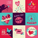 Happy Valentines Day greeting card set Royalty Free Stock Image
