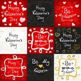 Happy Valentines Day Greeting Card Set Stock Photos