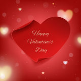 Happy Valentines Day greeting card template on the blurred background with hearts Royalty Free Stock Photography