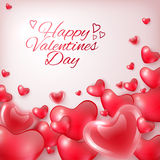 Happy Valentines Day greeting card template with hearts and inscription, festive background Stock Photo