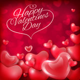 Happy Valentines Day greeting card template with hearts and inscription, festive background Stock Photography