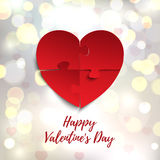 Happy Valentines Day, greeting card template. Jigsaw puzzle pieces. Royalty Free Stock Photos