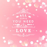 Happy Valentines Day Greeting Card with typography, heart, arrows, Bokeh background.. 14 February. All you need is love. Vector illustration Blurred Soft Royalty Free Stock Photos