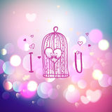 Happy Valentines Day Greeting Card with typography, heart, bird cage. Bokeh background Royalty Free Stock Photo