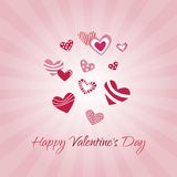 Happy valentines day. Greeting Card Happy Valentine s Day, hearts, pink background, divergent rays royalty free illustration