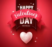Happy valentines day greeting card vector design or banner. With ribbon and hearts elements in a red background for valentines day season. Vector illustration Stock Images