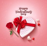 Happy valentines day greeting card vector design with love gift and rose flower Stock Photos
