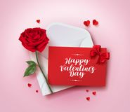 Happy valentines day greeting card vector design with love letter in envelope. Rose and paper cut hearts in pink background for valentines day season. Vector Royalty Free Stock Images
