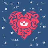 Happy Valentines Day - greeting card. Vector illustration with c. Rown and hearts Royalty Free Stock Image