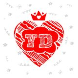 Happy Valentines Day - greeting card. Vector illustration with l. Etters V and D Royalty Free Stock Photos