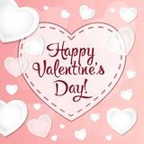 Happy Valentines Day Greeting card vector illustration. White paper hearts in style of origami. Vector illustration Royalty Free Stock Photography