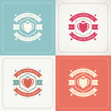 Happy Valentines Day Greeting Cards or Posters Set Stock Images
