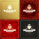 Happy Valentines Day Greeting Cards or Posters Set Royalty Free Stock Photography