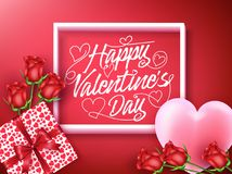 Happy Valentines Day Greeting Inside the Frame with Heart. Gift and Flowers in Red Background. Vector Illustration royalty free illustration