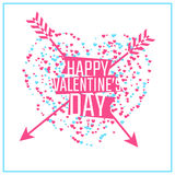 Happy Valentines day greeting or invitation card. With heart of particles and arrows. Vector illustration. Can be used for your poster, flyer and other design stock illustration