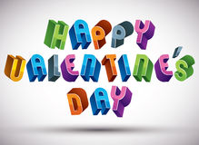 Happy Valentine's Day greeting phrase made with 3d retro style Stock Image