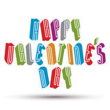 Happy Valentine's Day greeting phrase made with 3d retro style Stock Images