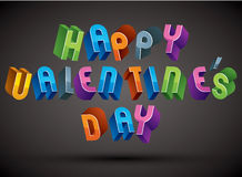 Happy Valentine's Day greeting phrase made with 3d retro style Stock Photography