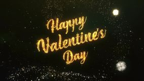 Happy Valentines Day Greeting Text Made from Sparklers Light Dark Night Sky With Colorfull Firework. stock video