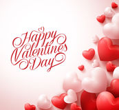 Happy Valentines Day Greetings with 3D Realistic Red Hearts and Typography. Text in White Background. Vector Illustration Royalty Free Stock Photo