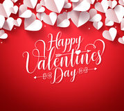 Happy valentines day greetings typography in red background. With paper cut white hearts shape decorations. Vector illustration Royalty Free Stock Photo